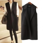 [Preorder] เสื้อแจ๊กเก็ตสูทแขนกุด Long version สีดำ (ไซส์ M L XL XXL XXXL) 2014 new fall fashion ladies commuter Korean wild XL vest jacket suit jacket and long sections