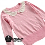 Coat-240 เสื้อแขนยาวสีชมพู ปักลายหัวใจ ปกผักบัว น่ารักค่ะ ใส่ตัวเดียวก็ได้ ใส่ทับก็ได้จ้า อก34 นิ้ว ยาว 22 นิ้ว (เสื้อคลุมพร้อมส่ง)