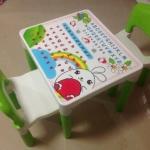 สีเขียว Inter Steel ชุดโต๊ะและเก้าอี้ เตรียมอนุบาล โต๊ะ ก-ฮ 1 ตัว + เก้าอี้ 2 ตัว ชุดโต๊ะเขียนหนังสือ/ทำกิจกรรมเด็ก ผลิตจากพลาสติกเนื้อดี แข็งแรง สามารถประกอบได้ง่าย ■ เหมาะกับการวางไว้ตามมุมต่างๆ ทั้งในบ้านและนอกบ้าน