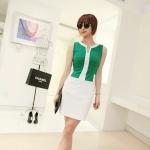 [Preorder] เดรสทำงานแฟชั่นแขนกุดเข้ารูป สำหรับสาวไซส์เล็ก สีเขียว Jingjing 2013 summer new Korean version of Women mixed colors shape sleeveless dress
