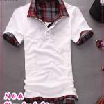 เสื้อโปโลแขนสั้นสีขาว Summer 2012 New Men's T-shirt Slim false two T-shirts Korean men's fashion TEE tide