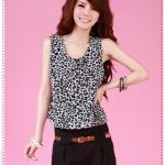 จั๊มสูทกางเกงแขนกุดลายเสือดาวสีดำพร้อมเข็มขัด 2012 summer new fashion leopard vest jumpsuit (with belt) (Preorder)