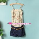 จั๊มสูทแฟชั่่นสายเดี่ยวกางเกงสีน้ำเงินพร้อมเข็มขัด 2012 spring and summer new female Korean fashion stitching piece shorts with belt temperament sweet piece pants