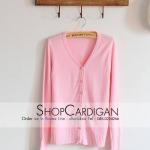 เสื้อคลุมไหมพรมกระดุมมุก แขนยาว Free-size สีชมพู อก 32-36 ยาว 22 นิ้ว