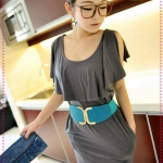 เดรสแฟชั่นเปิดไหล่สีเทา JackGrace simple Shuyuan style! Open sleeve overlapping collar with pocket