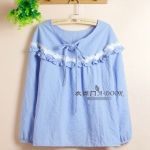 [Preorder] เสื้อแฟชั่นแขนยาวประดับลูกไม้ สีฟ้า Lace wood ear Sen female loose long-sleeved shirt Spring and Autumn lace round neck shirt cotton candy color lace blouse