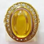 สินค้าจองค่ะ แหวนพลอยมณีใต้น้ำสีเหลืองทองเหลืองล้อมเพชร(ทุกราศี)ค่ะ