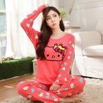 [Preorder] ชุดนอนแฟชั่น Hello Kitty เสื้อแขนยาวกางเกงขายาว สีแดงแตงโม (ฟรีไซส์) Fall hellokitty cat pajamas female summer hello kitty cat cartoon cotton long-sleeved tracksuit suit