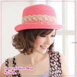 [Preorder] หมวกแฟชั่นประดับโบว์และไข่มุกสีชมพู 2012 new summer models special yarn lace Zhuhua butterfly knot rattan skullcaps
