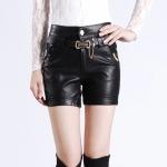 [Preorder] กางเกงหนังแฟชั่นขาสั้นสีดำ พร้อมเข็มขัดเก๋ๆ 2013 Winter New Korean Fashion Women PU washed leather shorts leather pants hot pants boots pants pants big yards