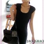 เดรสแขนสั้นเข้ารูปเปิดหลังสีดำ [Gin] to IN elegance! Big debut back lacing beautiful OP-color