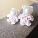 ต่างหูแฟชั่น หมีเล็กใหญ่สีชมพู