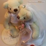 ตุ๊กตาหมีแต่งงาน B สีครีม ขนาด 14 cm. - Wedding love set B