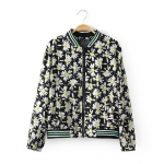 [Preorder] แจ๊กเก็ตแฟชั่นแขนยาวสไตล์ยุโรป ลายดอกไม้สีดำ (ไซส์ S M L XL) 2014 spring and summer new European style big floral print sport baseball jacket short jacket blouses
