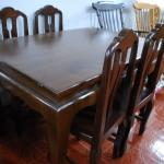 โต๊ะอาหารไม้สักสีโอ๊ค