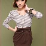 [Preorder] เดรสแขนยาวลายขวางสีกาแฟ Princess sleeve stripes mashup autumn dress