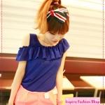 [Preorder] เสื้อแฟชั่นแขนสั้นเปิดไหล่ระบายช่วงบนสีน้ำเงิน new female summer strapless shoulder cover meat, lotus leaf, wood ear, solid color chiffon shirt