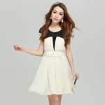 [Preorder] เดรสทำงานชีฟองแฟชั่นแขนสั้น สีขาว (พร้อมเข็มขัด) 2013 summer new Korean version of Slim short sleeve ladies chiffon pleated dress ladies stitching