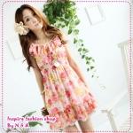 [พร้อมส่ง] เดรสแขนกุดลายดอกไม้ระบายสีชมพู Wave collar printed chiffon long blouse Tokyo Fashion 100%