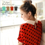 [Preorder] เสื้อแฟชั่นชีฟองแขนสั้นลายจุด สีส้ม Little chiffon shirt collar piece (Tokyo Fashion 100% นำเข้าจากไต้หวัน)