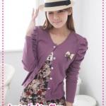 [Preorder] คาร์ดิแกนแฟชั่น (เสื้อคลุมแขนยาว) ประดับโบว์สีม่วง spring new special attached butterfly knot pin princess sleeve short jacket