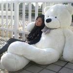 ตุ๊กตาหมียิ้มผูกโบว์ Teddy 2 เมตร สีขาว ตุ๊กตาตัวใหญ่น่ารักน่ากอด