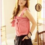 เดรสสายเดี่ยวกว้างสีชมพูเข้ม Spring and summer of 2012 the new Women Korean sweet bow lovely mixed colors sleeveless dress