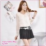 กระโปรงกางเกงแฟชั่นพร้อมเข็มขัดโบว์เก๋ๆ สีดำ 2012 Korean Women fashion candy skirt pants / shorts color Skorts (Free Belt)