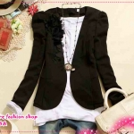เสื้อสูททำงานแฟชั่นแขนยาวประดับดอกไม้สีดำ 2012 spring new Korean female models, fashion Slim three-dimensional flowers, gold buckle V collar Puff suit jacket