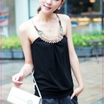 เสื้อสายเดี่ยวแฟชั่นประดับลูกปัดสีดำ 2012 new vest the bottoming good quality cotton hanging neck halter top