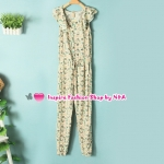 จั๊มสูทขายาวลายดอกไม้สีเขียว Summer new female fashion Korean version of sweet lace collar casual piece pants Floral feet jumpsuit Code