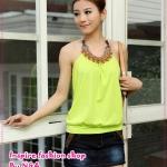 เสื้อสายเดี่ยวแฟชั่นประดับลูกปัดสีเขียว 2012 new vest the bottoming good quality cotton hanging neck halter top