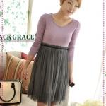 เดรสแขนยาวสีม่วงกระโปรงสีเทา JackGrace light ~ perfect stitching ~ Cinch spinning dresses two colors