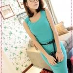 [Preorder] เซ็ทเสื้อแขนกุด + กระโปรง + เข็มขัด สีเขียว JackGrace suit! Practical Slim T + package hip skirt to send the belt four-color