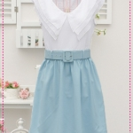 เดรสแขนสั้นแฟชั่นสีฟ้าระบายปกพร้อมเข็มขัด Sweet and tender and the Korean version of the new Women women three-tier lotus leaf collar princess dress in the 2012 spring and summer