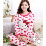 [Preorder] ชุดนอนแฟชั่นลายแมวเหมียวคิตตี้ Hello Kitty สีชมพู Autumn and winter long-sleeved thick flannel pajamas KT cat HelloKitty lovely coral velvet pajamas women tracksuit