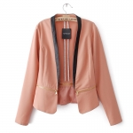 [Preorder] เสื้อสูทแฟชั่นแขนยาว แบรนด์ TOPSHOP สีกากี (ไซส์ S M L) 2014 Fall New European style TOPSHOP spell color zipper hem stitching small suit jacket suit influx of women