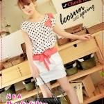 เดรสแขนสั้นลายจุดประดับโบว์สีขาว Korean cute little stitching Belt Dress