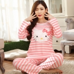 [Preorder] ชุดนอนแฟชั่น Hello Kitty เสื้อแขนยาวกางเกงขายาว สีชมพู (ไซส์ M L XL XXL XXXL) hellokitty cotton sleepwear female autumn big yards female long-sleeved pajama suit tracksuit cartoon cute spring and autumn