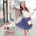 [Preorder] เดรสแฟชั่นแขนกุดกระโปรงพลีท สีน้ำเงิน Dimensional flower collar fine pleated chiffon dress