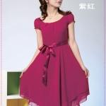 เดรสแขนตุ๊กตาสีชมพู double hot temperament of colored silk dress