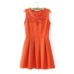 [Preorder] เดรสแฟชั่นแขนกุด แบรนด์ ASOS สีส้ม 2013 spring and summer new women asos the British Wind irregular hollow carved sleeveless vest dress