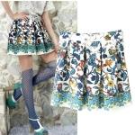 [Preorder] กระโปรงแฟชั่นสั้นสไตล์ยุโรป ลายดอกไม้สีสดใส (ไซส์ S M L) 2014 summer new European style big digital printing positioning sweet floral skirt children skirts