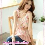 [พร้อมส่ง] เสื้อแขนกุดลายดอกไม้สีชมพู Blossoming of Maximo Oliveros level chiffon shirt Tokyo Fashion 100%