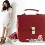 กระเป๋าแฟชั่นนำเข้าสไตล์ Celine vintage clutch เรียบหรู ดูแพง สีแดงเลือดหมู
