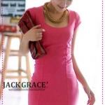 เดรสแขนสั้นเข้ารูปเปิดหลังสีชมพู [Gin] to IN elegance! Big debut back lacing beautiful OP-color