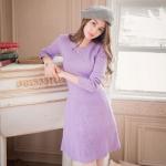 [Preorder] เดรสนิตติ้งแฟชั่นแขนยาวกระโปรงบาน สีม่วง Pure wool knit dress waist umbrella swing