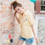 [Preorder] เสื้อเชิ๊ตแฟชั่นแขนสั้นลายจุด สีเหลือง The embroidered Figure little pocket shirt (Tokyo Fashion 100% นำเข้าจากไต้หวัน)
