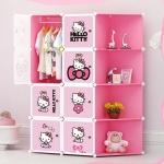 ตู้ DIY ลายการ์ตูน Hello Kitty ข้างตู้มีสีชมพู//ฟ้า//แดง/ขาวใสลายเส้น ขนาดช่องละ 37x37 ซม. รับน้ำหนักได้ช่องละประมาณ 10-15 กิโลกรัม (ขนาด 12 และ 16 แถมชั้นวางรองเท้า)