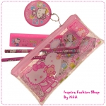 เซตเครื่องเขียน Hello Kitty สีชมพู 7 Set Hello Kitty Stationery Set / Hello Kitty pencil case / pencil case kitty